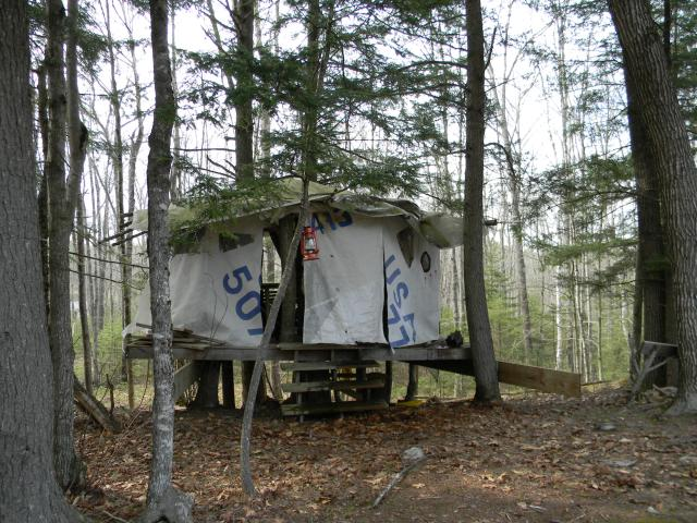 "Crowley's first prototype, Treehouse Yurt, with its graphically appealing ""skin"" of recycled sails."