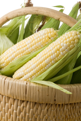 Corncobs in a wicker basket