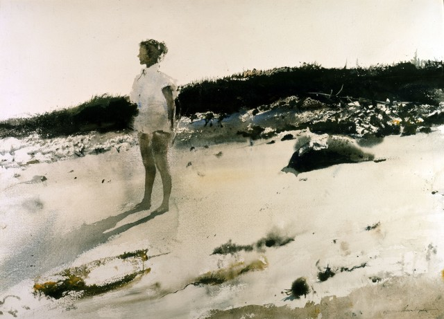 andrew-wyeth-carol-on-the-beach-1950-watercolor-on-paper-